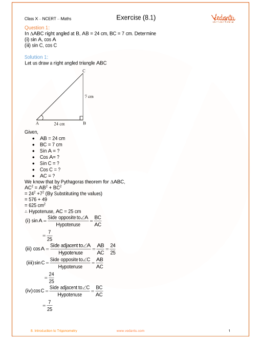 Chapter 8 - Introduction to Trigonometry part-1