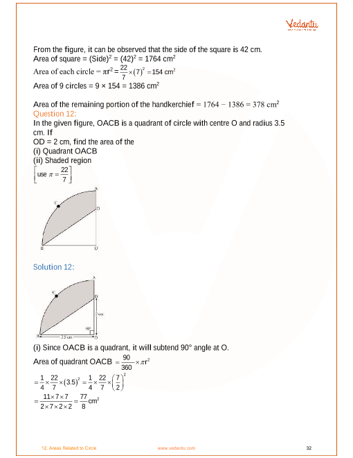 NCERT Solutions for Class 10 Maths Chapter 12 Areas Related ...