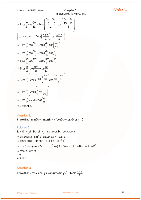NCERT Solutions for Class 11 Maths Chapter 3 Trigonometric