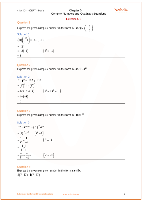 NCERT Solutions for Class 11 Maths Chapter 5 Complex Numbers