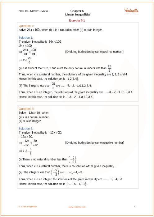 NCERT Solutions for Class 11 Maths Chapter 6 Linear