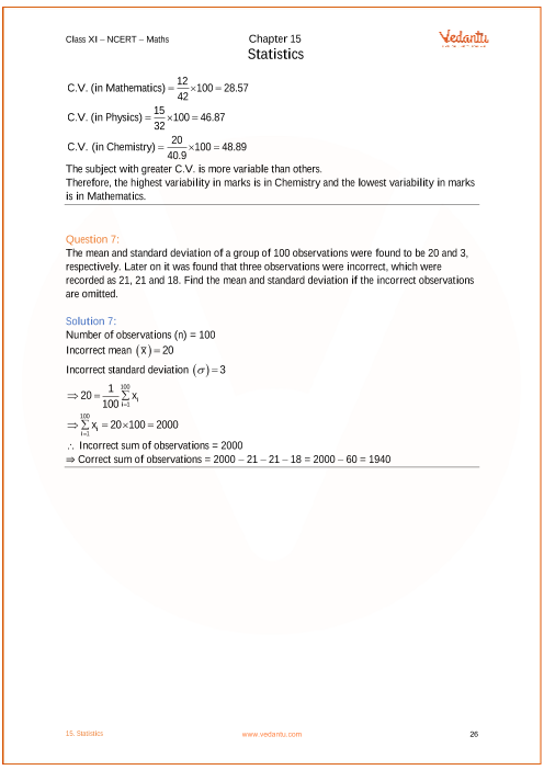 NCERT Solutions for Class 11 Maths Chapter 15 Statistics (Ex