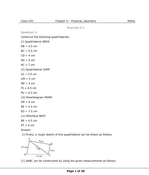 NCERT Solutions for Class 8 Maths Chapter 4 part-1