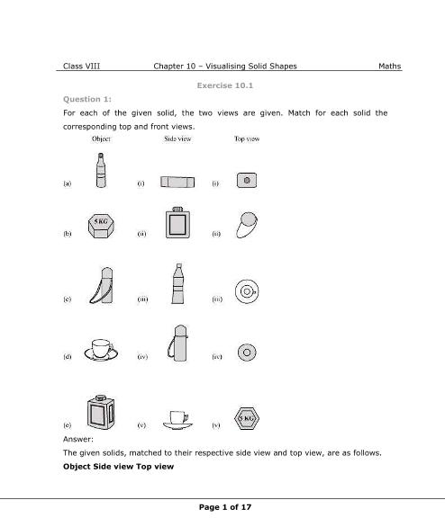 NCERT Solutions for Class 8 Maths Chapter 10 part-1