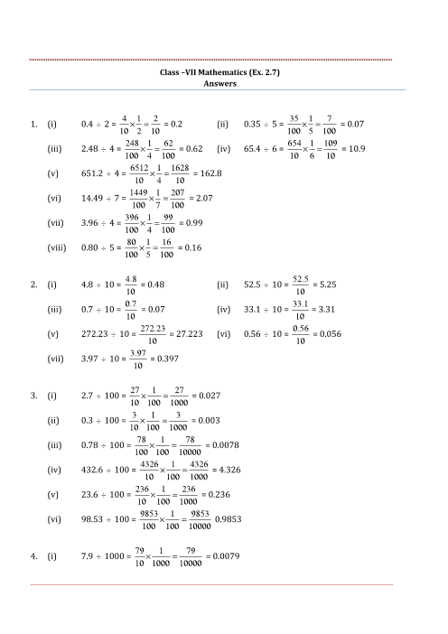 NCERT Solutions for Class 7 Maths Chapter 2 Fractions and Decimals