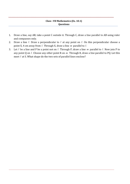 NCERT Solutions for Class 7 Maths Chapter 10 part-1
