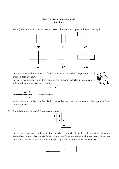 NCERT Solutions for Class 7 Maths Chapter 15 part-1