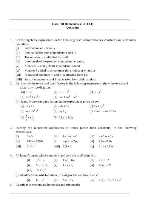 NCERT Solutions for Class 7 Maths Chapter 12 part-1
