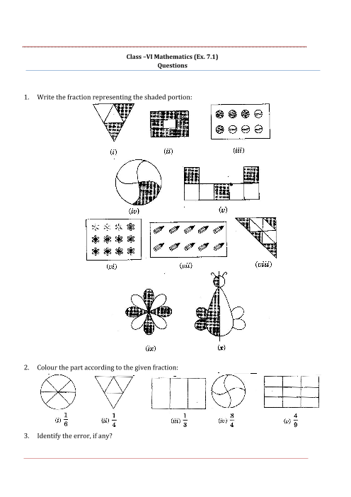 NCERT Solutions for Class 6 Maths Chapter 7 part-1