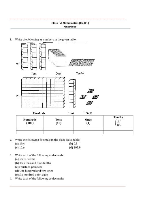 NCERT Solutions for Class 6 Maths Chapter 8 part-1