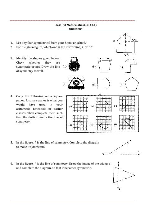 NCERT Solutions for Class 6 Maths Chapter 13 part-1