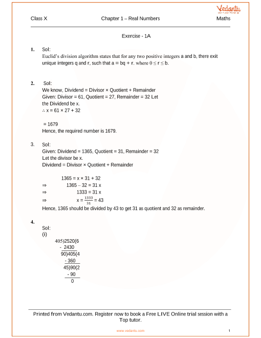 RS Aggarwal Solutions for Class 10 Chapter 1 part-1