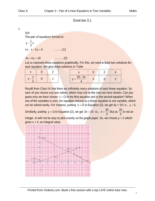 RD Sharma Class 10 Solutions Chapter 3 Pair of linear equations in two variables part-1
