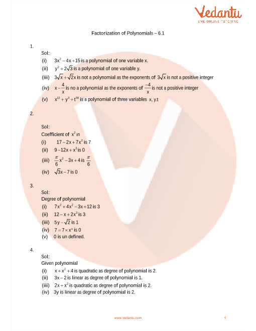 06 - Factorisation of polynomials part-1
