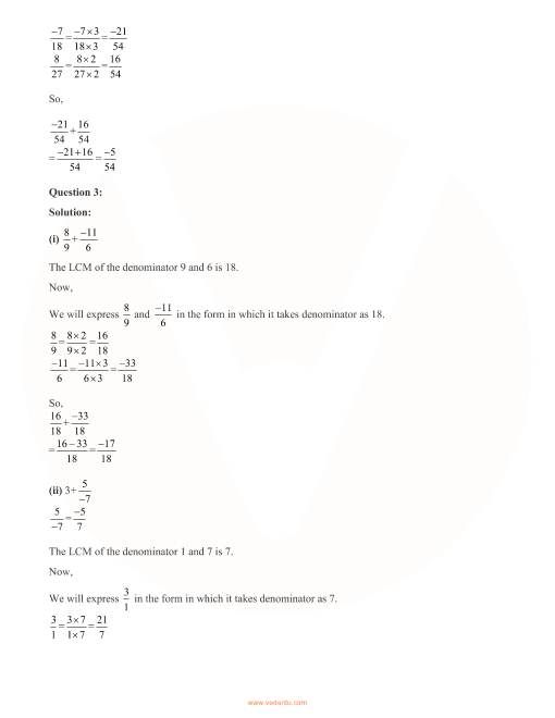 RD Sharma Class 8 Solutions Chapter 1 - Rational Numbers (Ex