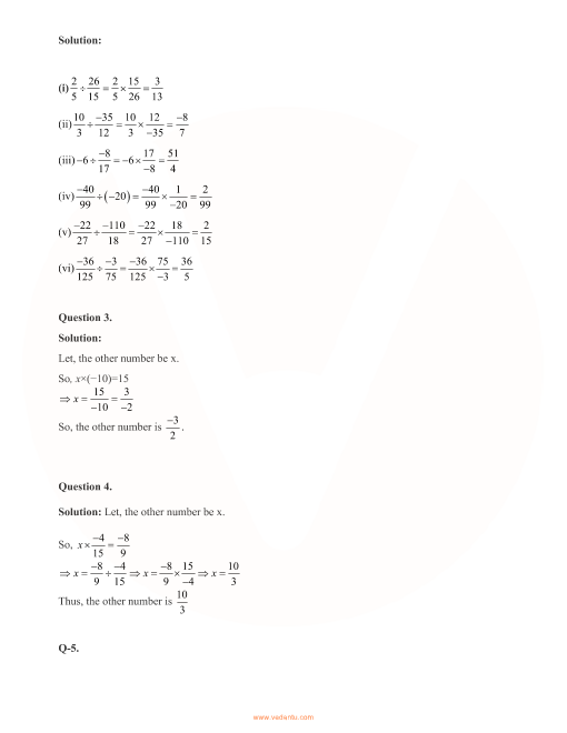 RD Sharma Class 8 Solutions Chapter 1 - Rational Numbers (Ex 1 4