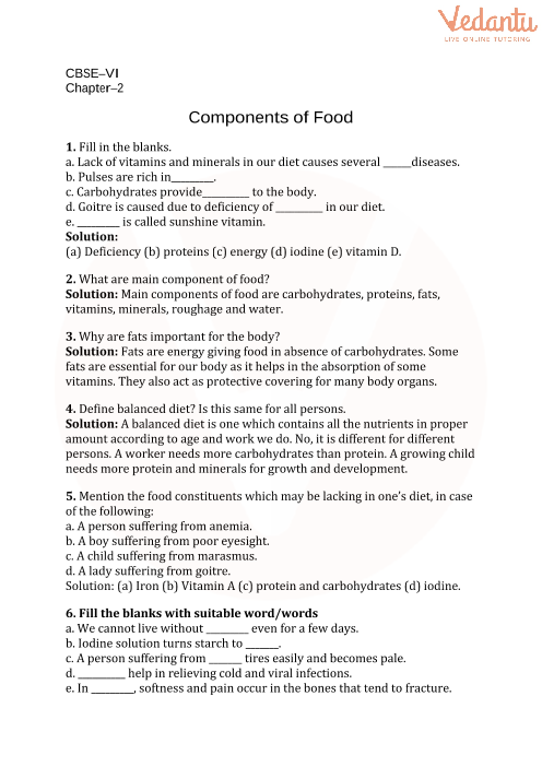 cbse class 6 science components of food worksheets with answers chapter 2. Black Bedroom Furniture Sets. Home Design Ideas