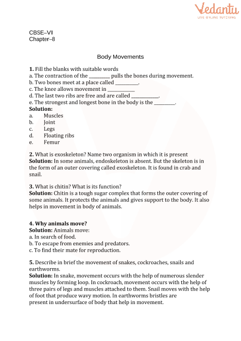 CBSE Class 6 Science Body Movements Worksheets with Answers - Chapter 8