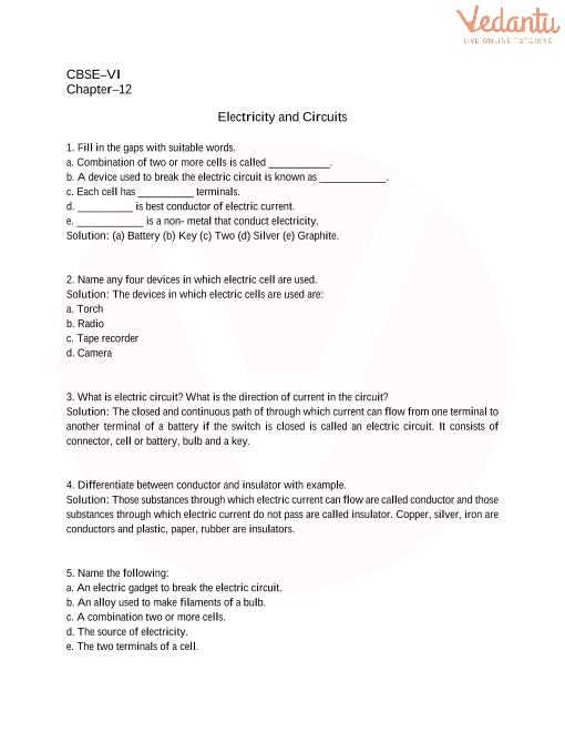 cbse class 6 science electricity and circuits worksheets with answers chapter 12. Black Bedroom Furniture Sets. Home Design Ideas