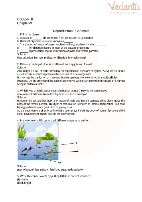Cbse Class 8 Science Reproduction In Animals Worksheets With Answers Chapter 9
