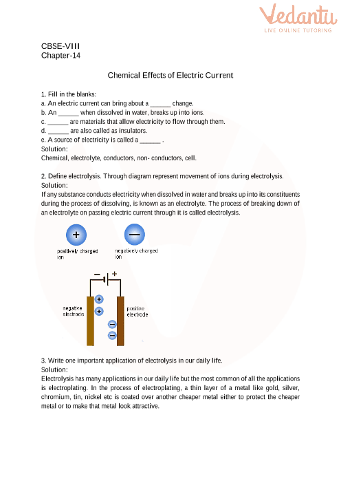 CBSE Class 8 Science Chemical Effects of Electric Current Worksheets