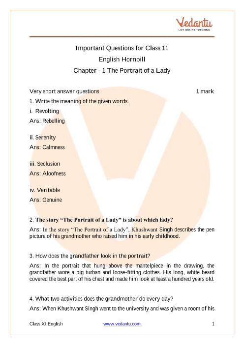 Study Important Questions for Class 11 English Chapter 1- The Portrait of a Lady part-1