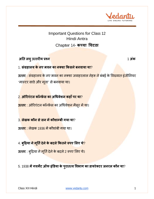 Important Questions for CBSE Class 12 Hindi Antra Chapter 14  Kaccha chitta part-1