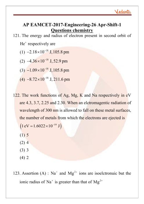 AP EAMCET 2017 Chemistry Question Paper 26 April Morning part-1