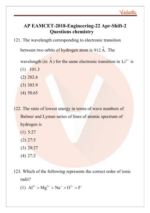 AP EAMCET 2018 Chemistry Question Paper 22 April Evening part-1