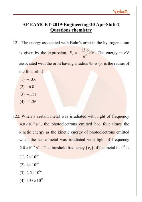 AP EAMCET 2019 Chemistry Question Paper 20 April Evening part-1