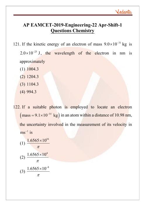 AP EAMCET 2019 Chemistry Question Paper 22 April Morning part-1