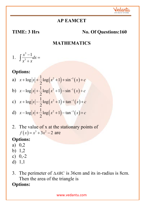 AP EAMCET Engineering Question Paper 17th September 2020 Shift 1 part-1