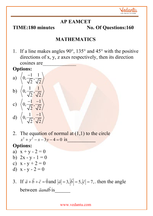 AP EAMCET Engineering Question Paper 17th September 2020 Shift 2 part-1