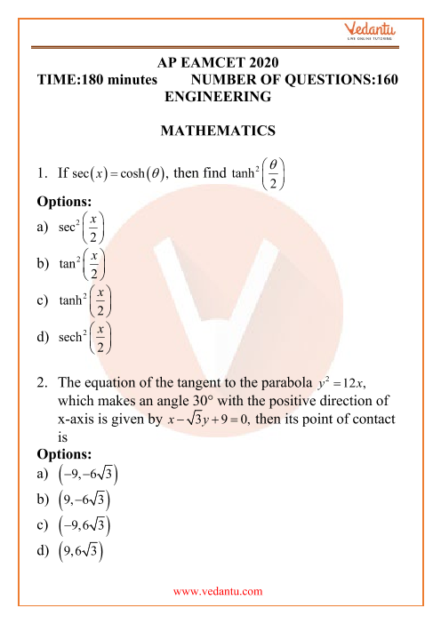 AP EAMCET Engineering Question Paper 18th September 2020 Shift 1 part-1