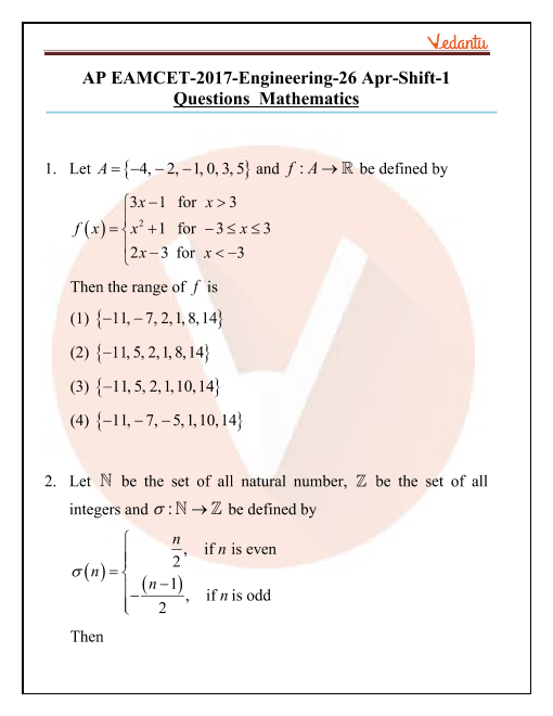 AP EAMCET 2017 Maths Question Paper 26 April Morning part-1