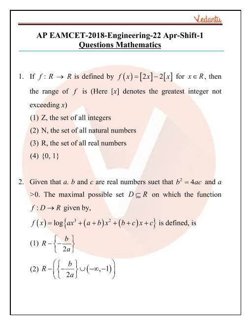 AP EAMCET 2018 Maths Question Paper 22 April Morning part-1