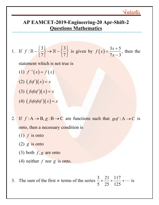 AP EAMCET 2019 Maths Question Paper 20 April Evening part-1