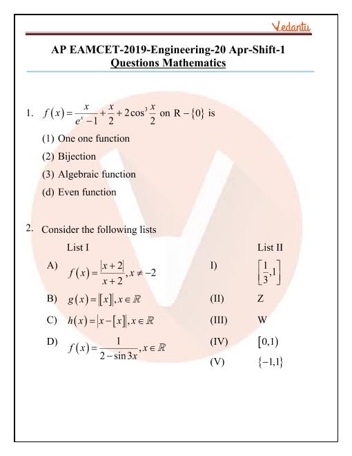 AP EAMCET 2019 Maths Question Paper 20 April Morning part-1