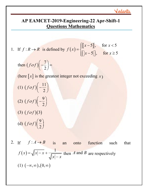 AP EAMCET 2019 Maths Question Paper 22 April Morning part-1
