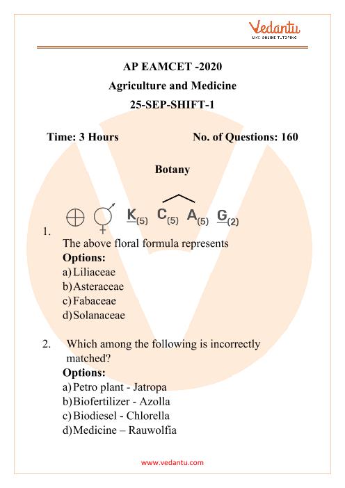 AP EAMCET -2020 Agriculture and Medicine 25-SEP-SHIFT-1 part-1