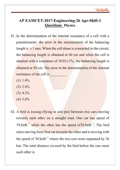 AP EAMCET 2017 Physics Question Paper 26 April Morning part-1