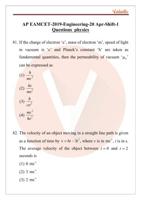 AP EAMCET 2019 Physics Question Paper 20 April Morning part-1