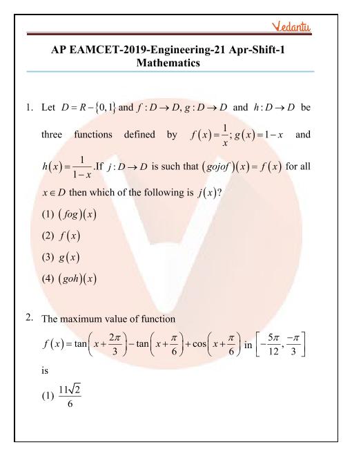 AP EAMCET-2019-Engineering-21 Apr-Shift-1 part-1