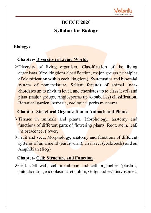 BCECE Biology Syllabus 2020 PDF Download part-1