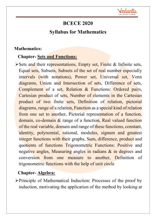 BCECE Maths Syllabus 2020 PDF Download part-1