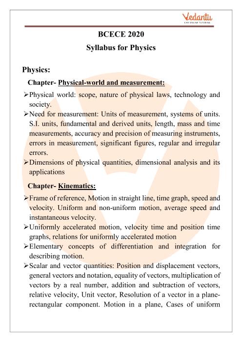 BCECE Physics Syllabus 2020 PDF Download part-1