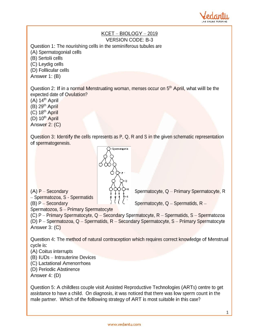 KCET_Biology_Year_2019 part-1