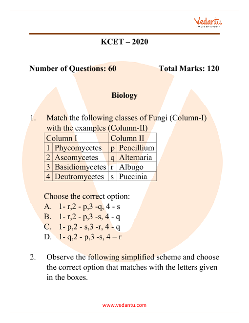 KCET 2020 Previous Year Question Paper for Biology part-1
