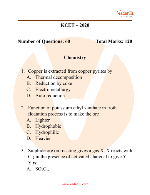 KCET 2020 Previous Year Question Paper for Chemistry part-1