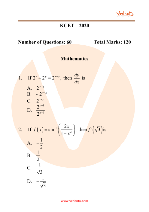 KCET 2020 Previous Year Question Paper for Maths part-1